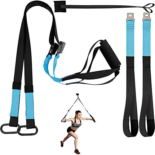 KEAFOLS Fitness Training Kit, Professional Bodyweight Resistance Training System Home Gym Fitness Trainer, Super Sturdy Training Straps for Full-Body Workout Exercise, USA Patented (Blue1)