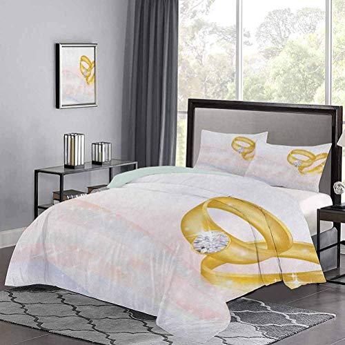 Juego de funda nórdica de, anillos de boda sobre fondo abstracto, romance, matrimonio, compromiso, estampado, juegos de cama para todo uso, hacen que su cama sea divertida y cómoda, rosa pálido, azul