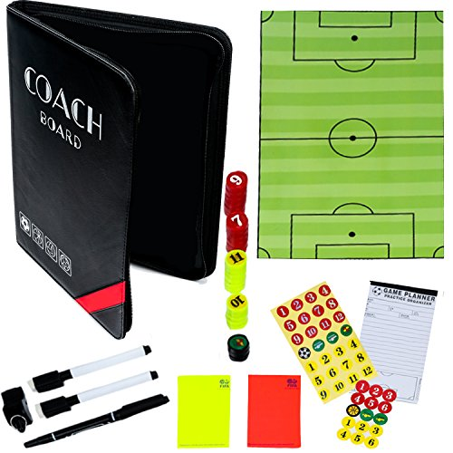 Dry-Erase Soccer Coaching Clipboard - Coach's Equipment that Includes Magnetic Board, Scorebook, Playbook, Whistle, Cards and Extras for Strategies and Plays - Great Multi-Sport Gift for your Coach