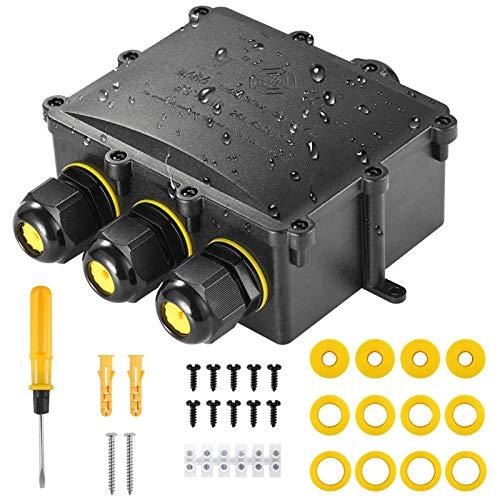 Abzweigodse IP68 Verteilerdose Wasserdichte Kabelverbinder, Kohree Klemmdose für Außen Größere 4 Wege Verbindungsdose für Ø4mm-14mm Kabeldurchmesser M25...