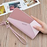 OBO-LY Women's Zipper Wallet, Compartment Wallet, Leather Large-Capacity Wristband Credit Card Holder, Mobile Phone Pocket, Stylish Wallet for Banknotes and Coins,Pink