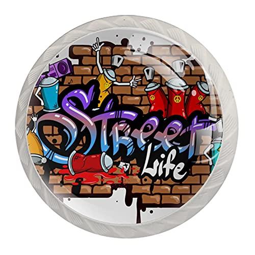 Graffiti Word-01 - Tirador para armario de cocina (4 piezas)