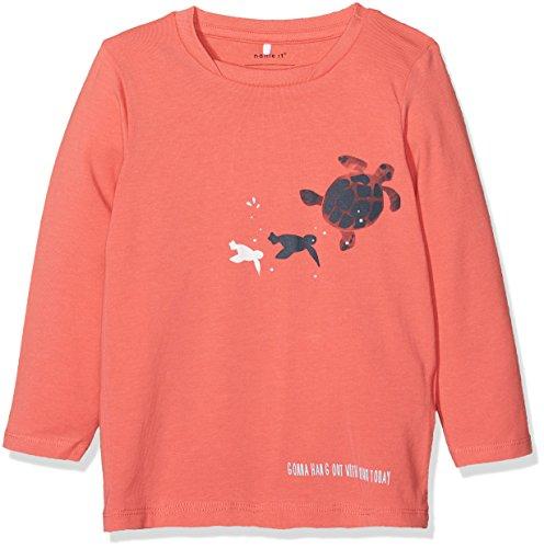 Name It Nbmfaniel Ls Top T-Shirt À Manches Longues, Orange (Spiced Coral), 68 Bébé Fille