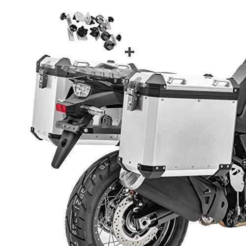 Motorrad Alukoffer Set/Aluminium Seitenkoffer 2x38 Liter Bagtecs GX38 + Adapter Silber