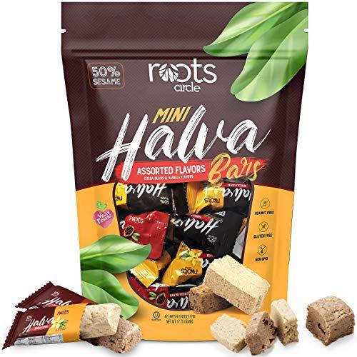 Roots Circle Mini Halva Candy Sesame Tahini Bars | Bulk Re-sealable Bag | Made of 50% Sesame | Cocoa Bean & Vanilla Flavors | 42 Individually Wrapped Halvah Pieces | Kosher, Gluten-Free & Vegan