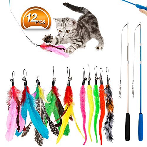 JIARON Feather Teaser Cat Toy, 2PCS Retractable Cat Wand Toys and 10PCS Replacement Teaser with Bell Refills, Interactive Catcher Teaser and Funny...