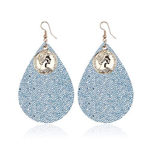Mouwa Frauen Goldmünze Ohrringe, handgewebte PU Ohrringe Allergie Edelstahl Ohr Nadeln im Stil von Simian für Reisen und Geschenke,B