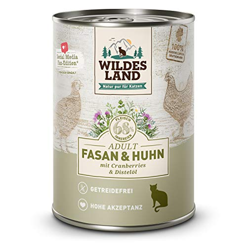 Wildes Land   Fasan & Huhn   6 x 400 g Dose   Nassfutter für Katzen   Getreidefrei   Extra viel Fleisch   Beste Akzeptanz und Verträglichkeit