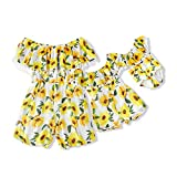 IFFEI Mommy and Me Matching Off Shoulder Sunflower Print Tassel High Waist Romper Jumpsuit for Summer Girl: 8-9 Years Yellow
