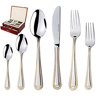 75-Piece Gold Flatware Set Dining Service for 12 - Premium 18/10 Stainless Steel - 24K Gold Plated Trim - Silverware Serving Set Lightweight - Wood Flatware Box - Dishwasher Safe (Madison)