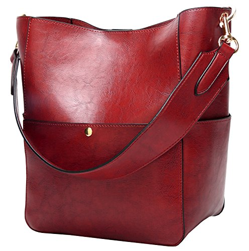 Molodo Womens Satchel Hobo Stylish Top Handle Tote PU Leather Handbag Shoulder Purse,Wine Red,X-Large