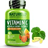 NATURELO Premium Vitamin C with Organic Acerola Cherry and Citrus Bioflavonoids - Whole Food Powder Supplement...