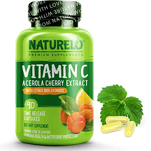 NATURELO Vitamin C with Organic Acerola Cherry Extract and Natural Citrus Bioflavonoids - Whole Food Vegan Supplement - 500 mg VIT C per Cap - Time Release - Non-GMO - 90 Capsules