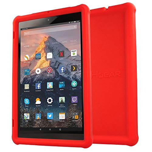 TECHGEAR Bumper Case fits Amazon Fire HD 10 (7th Gen / 2017) Rugged Light Weight Shock Proof Soft Silicone Protective Easy Grip Case with Screen Protector [RED] - Kids & School Friendly Case