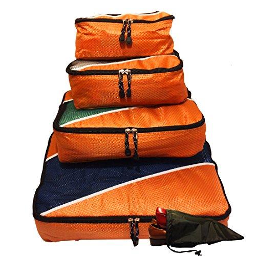 Evatex imballaggio, Cubes-Cubi da viaggio, confezione da 4 pezzi, con borsa per scarpe, arancione (Nero) - EVA-4P-FTPC-EVAORANGE