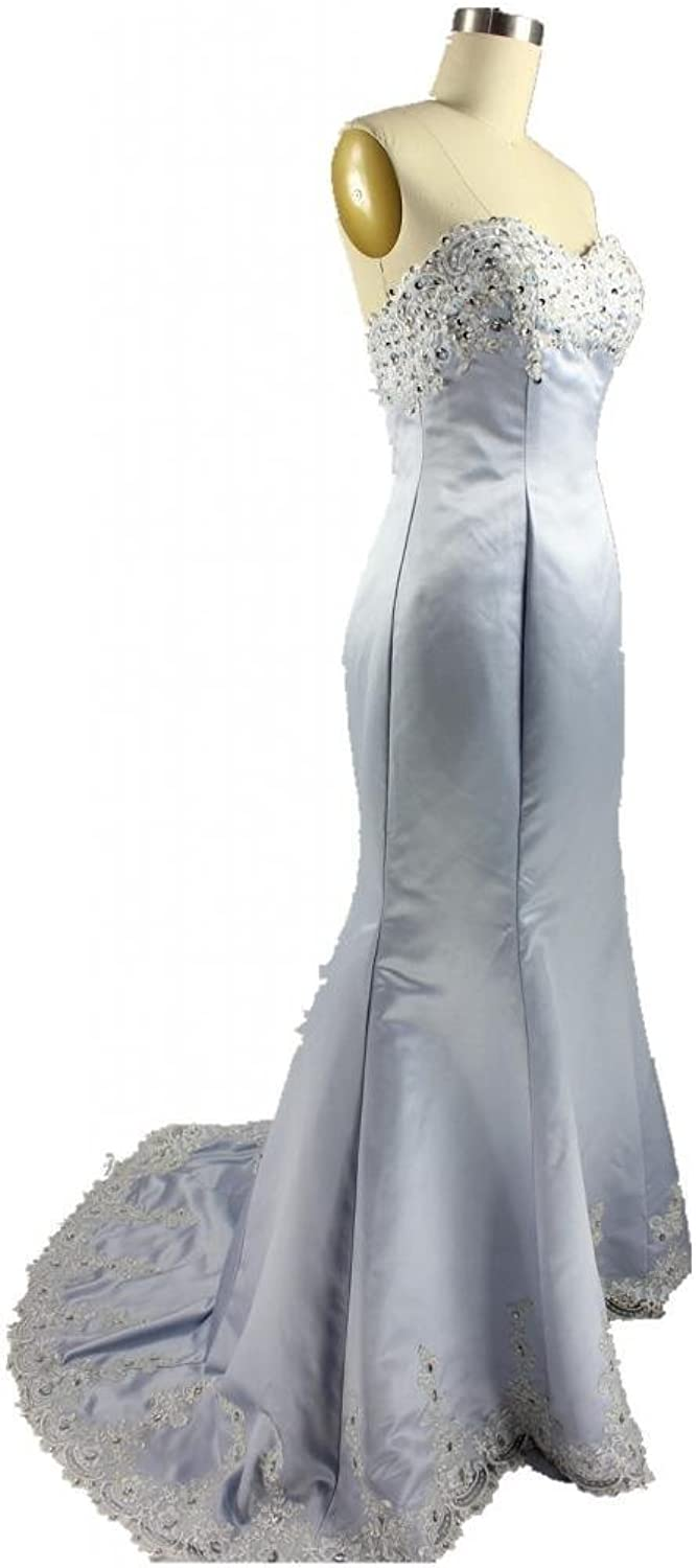 CharmingBridal Mermaid Sweetheart Silver Evening Gown Formal Special Occasion Dress