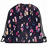 Ccsoixu Trendy Floral Print Patern Design Flower Drawstring Backpack Gym Sack Lightweight Bag Water Resistant Gym Backpack for Women&Men for Sports,Travelling,Hiking,Camping,Shopping Yoga
