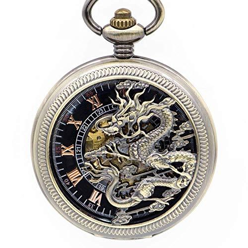 LNDDP Mechanische Taschenuhr, Flying Dragon Mechanische Taschenuhr Skeleton Steampunk Taschenuhren Kettenanhänger Uhr