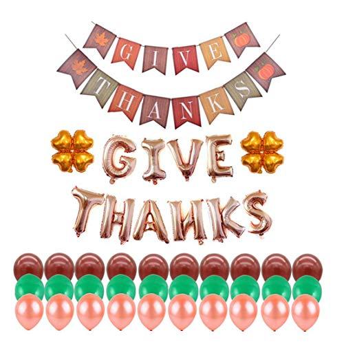 Acción de Gracias Partido globos decoraciones de sistema incluyendo dar gracias Banner dar gracias Cartas Foil Globos de cuatro hojas del trébol de la hoja de globo de látex globo (Rosa de Oro Letra