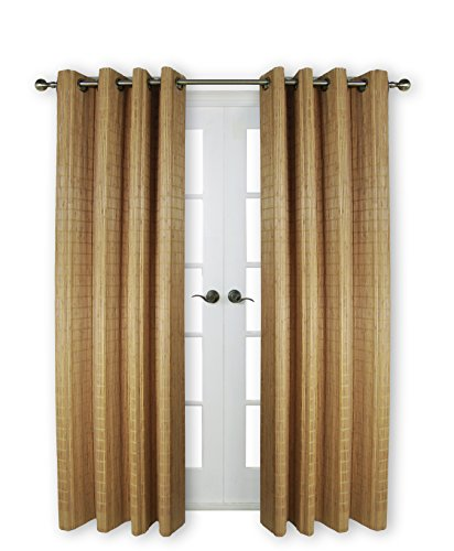 "Versailles Home Fashions BPU144884-9 Bamboo Wood Curtain Panel with Grommets, 48"" x 84"", 09 Teak"