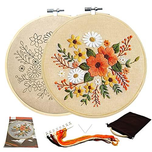 Kit De Bordado Para Adultos Lino De Hojas Florales Bordado De Bricolaje Con Patrón, Libro De Instrucciones, Hilo, Aguja, 1 Aro