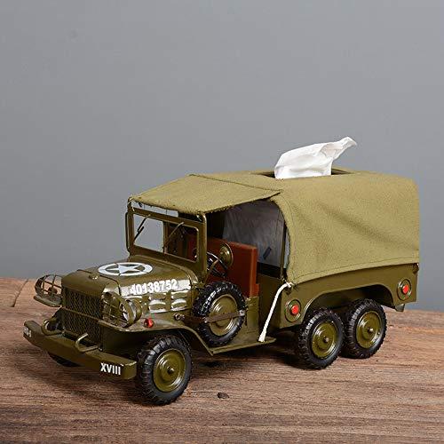 KK Zachary Raumdekoration Retro Eisen Kunst Militärfahrzeugmodell Papierkassette Box Dekoration Fensterdekoration Bar Restaurant Dekoration/Auto-Modell 40 * 16 * 18cm