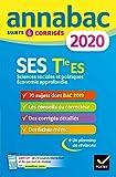 Annales Annabac 2020 SES Tle ES Spécifique & spécialités: sujets et corrigés du bac Terminale ES