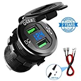 Quick Charge 3.0 Car Charger, CHGeek 12V/24V 36W Waterproof QC3.0 Dual USB Charger Socket Adapter Power Outlet with LED Digital Voltmeter for Marine, Boat, Motorcycle, Truck, Golf Cart and More(Black)