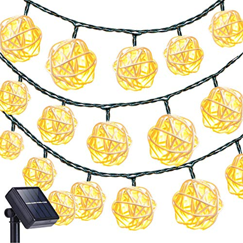 Luces de Cuerda de Ratán,KINGCOO 4.8 Metros 20LED Solar Hada Bola Decorativa Guirnaldas Luminosas con 2 Modos Decoración para Exterior Jardín Patio Casas Bodas Navidad Fiesta (Blanco cálido)