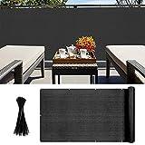 Pantalla para Balcón Jardín Protección de Privacidad Opaca HDPE Resistente a los Rayos UV Protección contra el Viento, con Ataduras de Cables 90 x 300 cm negro