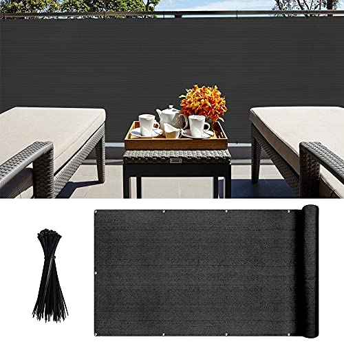 Recinzione Copertura per Balcone Giardino Protezione della Privacy Schermo in HDPE Permeabile Frangivista Giardino Protezione UV dal Vento per Balcone, Giardino, Piscina 90 x 500 cm nero