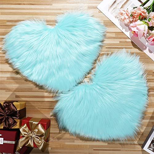 2 Pieces Fluffy Faux Sheepskin Area Rug Heart Shaped Rug Fluffy Room Carpet for Home Living Room Sofa Floor Bedroom, 12 x 16 Inch (Light Blue)