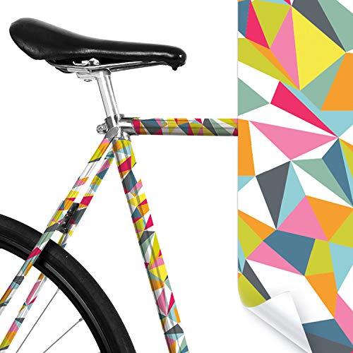 MOOXIBIKE Wilde Dreiecke bunt Mini Fahrradfolie mit Muster für Rennrad, MTB, Trekkingrad, Fixie, Hollandrad, Citybike, Scooter, Rollator für circa 13 cm Rahmenumfang
