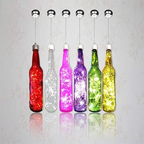 UWY Candelabro, Candelabro de un Solo Cabezal, Candelabro de un Solo Cabezal Led Creativo Botella de Vino Candelabro de Cristal Starlight Luz de LED Lámpara de Botella Decoración Personalidad, V