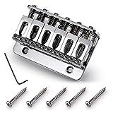 WANDIC - Sillín de puente para guitarra eléctrica (6 cuerdas, cromado, con 5 tornillos y llave)