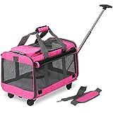 KOPEKS - Transportín para Mascotas con Ruedas Desmontables para Perros y Gatos pequeños y medianos, Color Rosa