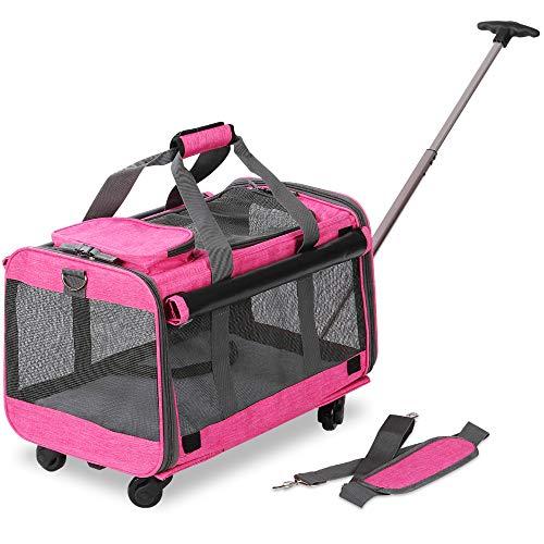 KOPEKS - Trasportino per Animali Domestici con Ruote Staccabili per Cani e Gatti di Piccola e Media Taglia, Colore: Rosa Erica