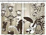 BOKEKANG Cortinas para Ventana de Cocina,Besar Parejas en la Calle con linternas Violín Música Love Valentine 'S Theme,Cortina Corta para Cocina Decoración de Ganchos para Baño,Pack 2,140x100cm