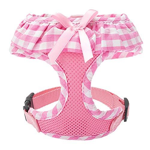 EXPAWLORER Checkered Frills Fashion Puppy Harness for Pets Dog & Cat, Pink Medium