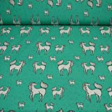 Jersey Baumwolle Pferde, Ökotex 100, mint (25cm x 150cm)