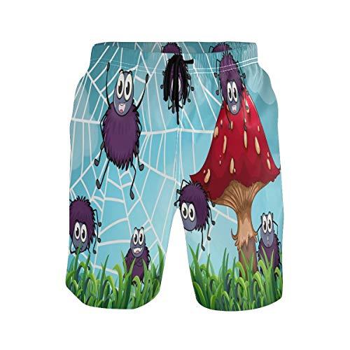 Bonipe Herren Badehose Spinnen Klettern auf dem Spinnennetz, Cartoon-Pilz, schnell trocknend, Boardshorts mit Kordelzug und Taschen Gr. L/XL, mehrfarbig