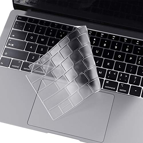 i-Buy Ultra Dünn TPU Tastaturschutz Kompatibel für MacBook Air 13 Zoll mit Retina-Display & Touch-ID (A1932), 2018 2019 Freisetzung - EU Layout, Klar
