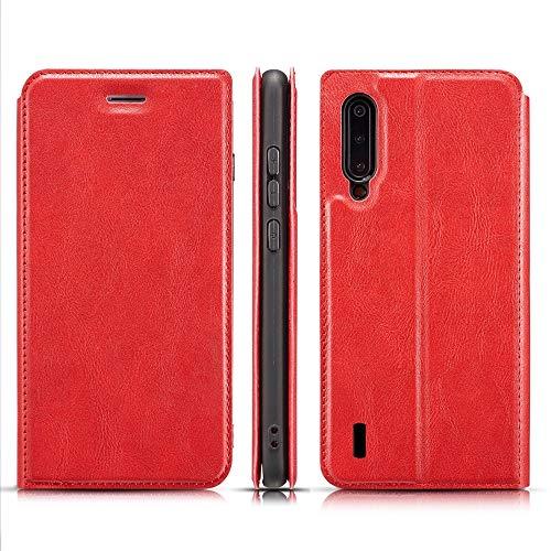 Protector de Pantalla para Xiaomi MI A3 Retro Caja de Cuero magnética Ultrafina Simple con Soporte y Ranuras para Tarjetas y cordón, Zhongxianshangmaoyouxiangongsi (Color : Red)