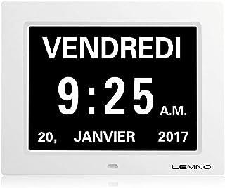 """Lemnoi de Noël 8"""" Pouce LCD Horloge Numérique Calendrier avec Date Jour Et Heure Horloge Non-Abrégée Auto Dimming 8 Langue..."""