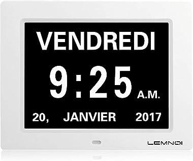 """Lemnoi de Noël 8"""" Pouce LCD Horloge Numérique Calendrier avec Date Jour Et Heure Horloge Non-Abrégée Auto Dimming 8 Langu"""