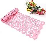 ZJchao Camino de Mesa, la Flor Hueco Tischband Mantel Almohadilla de Fondos de Pantalla Coaster Decorar su habitación Lavables, 100 x30cm (Rosa)