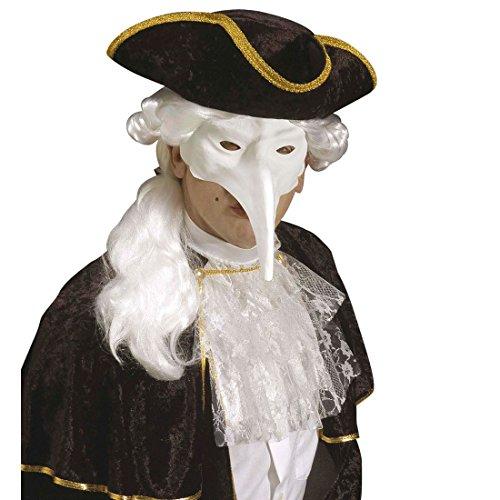 Amakando Venezianische Maske Schnabelmaske zum Bemalen weiß Vogel Faschingsmaske Pantalone Karnevalsmaske Venedig Augenmaske mit Langer Nase Maskenball Halloween