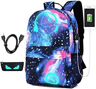 Anti-thief Bag Luminous School Bags For Boys Student Backpack 15-17 inches Mochila with USB Charging Port Lock Schoolbag F...