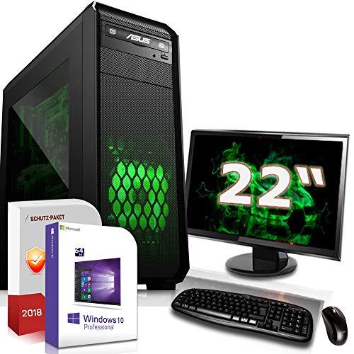 Multimedia PC mit Monitor AMD Ryzen 3 3100 4X 3.6GHz |ASUS Board|22 Zoll TFT|8GB DDR4|256GB M.2 SSD|GTX 1650 4GB|DVD-RW|USB 3.0|SATA3|Sound|Windows 10 Pro|Made in Germany|3 Jahre Garantie
