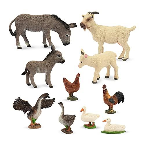 TOYMANY 10PCS Farm Animals Toy Figures  Plastic Play Farm Animal Figurines for Toddlers Kids Boys Girls